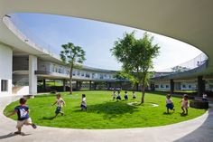 vo trong nghia spirals farming kindergarten in vietnam photo by hiroyuki oki all images courtesy of vo trong nghia architects in dongnai, vietnam, vo trong nghia architects has completed the constru. Architecture Awards, School Architecture, Sustainable Architecture, Sustainable Design, Landscape Architecture, Landscape Design, Pavilion Architecture, Sustainable Energy, Residential Architecture