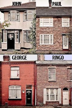 The four boyhood homes of The Beatles (John Lennon, Paul McCartney, George Harrison and Ringo Starr) in Liverpool. The photos are from later years after paint-jobs and repairs and are not the way they probably looked during or after the Second World War. Ringo Starr, George Harrison, John Lennon, Liverpool England, Beatles Love, Beatles Quotes, Beatles Guitar, Beatles Art, Musica Popular