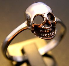Sterling Silver Skull Ring by FranticJewelry on Etsy https://www.etsy.com/listing/97832053/sterling-silver-skull-ring