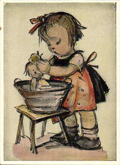 "12183 Hummel-Postkarte ""Puppenbad"" | eBay"