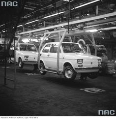 Tychy, Polish Fiat 126, 1975. Fiat 500, Poland Country, Poland History, Car Polish, Fiat Abarth, Old Photography, Assembly Line, Illustrations And Posters, Italian Style