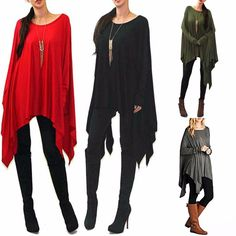 Sexy Solid Flowy Oversized Long Sleeve Knit Poncho Top Os - Xs-Xl 4 Colors! Usa