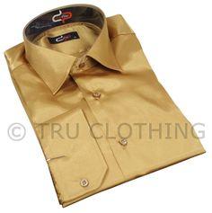 Mens Italian Design Gold Silk Satin Finish Shirt Smart Slim Fit
