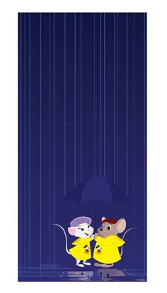 "I have to say, I think this is one of the sweetest graphics we've shared yet in our Disney Doodles series. In it, the brave little mouse Bernard, from the film ""The Rescuers,"" is saving the day again for Miss Bianca - this time with umbrella and Disney Parks ponchos!"