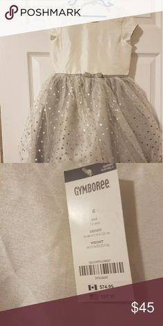 GYMBOREE girls dress.  Polka dots. silver and white knee length girls dress.  Silver polka dot skirt white shiny top. Size 6. Gymboree Dresses Formal