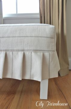 a simple pleated slipcover, reupholster Diy Ottoman, Ottoman Slipcover, Leather Ottoman, Slipcovers For Chairs, Leather Sofas, City Farmhouse, Furniture Upholstery, Diy Pillows, Chair Covers