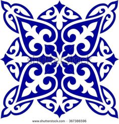 Geometric Islamic Tile Pattern Arabesque blue and white, square