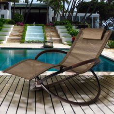 Bellini Coral Gables Patio Wave Rocking Lounger in Brown Resin Wicker ...