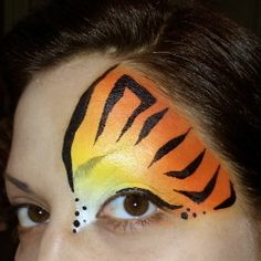 Tiger Eye Half Mask - Face Painting by Glitter Goose! Easy Paint Painter Ideas Cat