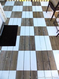 (DIY~ Painted Checkerboard Deck)