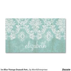 Ice Blue Vintage Damask Pattern with Grungy Finish Double-Sided Standard Business Cards (Pack Of 100)