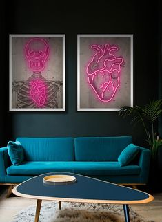 Vintage medical skeleton diagram, with super sexy glowing bright Neon over the top! Neon Bedroom, Floral Bedroom, Bedroom Inspo, Modern Wall Decor, Wall Art Decor, Neon Home Decor, Vintage Medical, Home Decor Inspiration, Living Room Decor