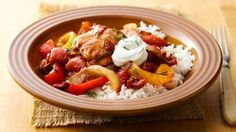 Make-Ahead Slow-Cooker Chicken Paprikash: Packed with smoked paprika, garlic and bell peppers, this flavorful freezer to slow cooker make-ahead chicken dinner will have you craving even more delicious Central European fare. Crock Pot Slow Cooker, Crock Pot Cooking, Slow Cooker Chicken, Slow Cooker Recipes, Crockpot Recipes, Chicken Recipes, Cooking Recipes, Chicken Meals, Fun Recipes
