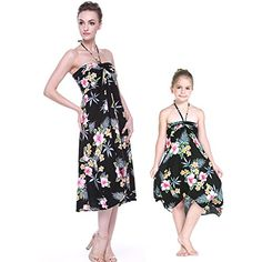 a60b5f303e Hawaii Hangover Matching Hawaiian Luau Mother Daughter Butterfly Dress in  Hibiscus Black Mother Daughter Outfits
