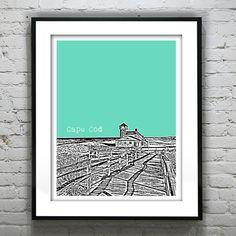 Cape Cod Skyline Poster Art Print  by AnInspiredImage on Etsy,