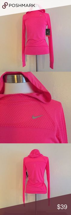 NWT Nike Dry-fit Pullover + Nike dry-fit material. Bust and sleeves have honeycomb texture as pictured! 100% poly! + The hood and thumb holes make it versatile fit any weather💪🏼💕! + Don't forget to bundle 🛍 ⭐️All items are steamed cleaned and shipped within 48 hours of your purchase. ⭐️If you would like any additional photos or have any questions please let me know. ⭐️Sorry, no trades. But will listen to ALL fair offers. Thanks for shopping! Nike Tops Sweatshirts & Hoodies