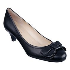 """Love the Minsky?  These kitten heel pumps have been updated with a bow and are the perfect addition to any wardrobe!  Pair them with jeans, wear them to work or a night out.  The possibilities are endless with this shoe! Available in medium, narrow and wide!  Features a 2"""" heel."""