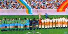 Futebol Ernani Pavaneli (Brasil, 1942) acrílica sobre tela, 40 x 80 cm