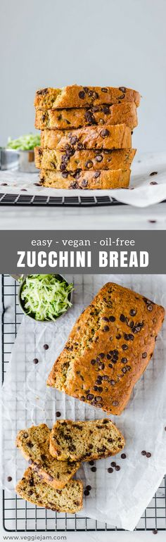 Easy vegan oil-free zucchini bread #vegan#baking#oil-free