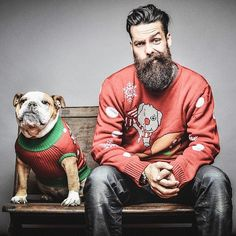 Matty Conrad with his bulldog matching the Christmas sweaters. Happy Holidays everyone! #beardlove #beard #style #christmas