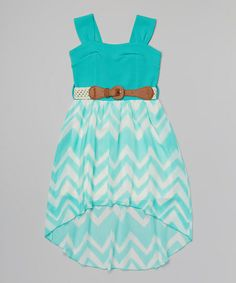 Mint Zigzag Belted Dress - Girls