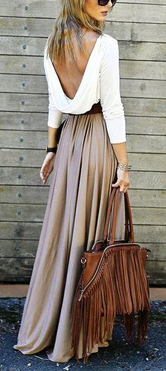 Splicing Long Sleeve Backless Scoop Pleated Long Dress