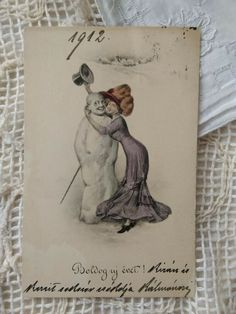Austrian Art Deco artistic postcard, winter scene, lady with snowman 1912 Winter Scenes, Snowman, Art Deco, Lady, Artist, Books, Libros, Artists, Book