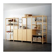 IKEA - IVAR hyllsystem. Obehandlat massivt trä. Kan byggas ihop med de delar man behöver. Finns hyllor, skåp och hurts.  Går att måla om man vill.