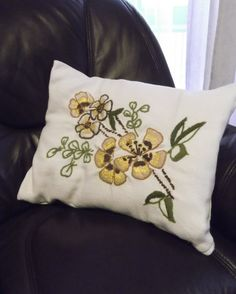 Vintage handmade crewel embroidered pillowcase with flowers -- from Germany -- home decor