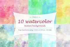 Water color texture Vol 1. You'll get 10 high resolution jpeg with 3,000 x 2,500 pixel and 300 dpi. +++ Big Bundle +++ You may also interested in the full pack. 40 Watercolor Textures (free bonus) https://thehungryjpeg.com/product/11662-40-watercolor-textures-free-bonus