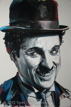 Charlie Chaplin by Tachi Artist Painting, Celebrity Caricatures, Joker Heath, Caricature, Send In The Clowns, Portrait Painting, Canvas Painting Tutorials, Vector Portrait, Charlie Chaplin