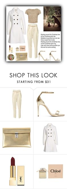 """""""Rockin Around the Christmas Tree"""" by rboowybe ❤ liked on Polyvore featuring self-portrait, Alice + Olivia, Yves Saint Laurent, Golden Goose, GUESS and Chloé"""