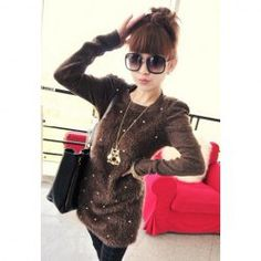 Morden Style Solid Color Faux Pearl Embellished Long Sleeves Faux Fur Women's Sweaters