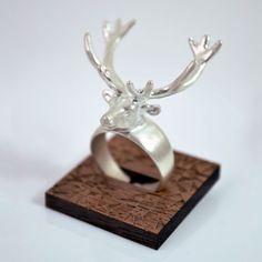 Sterling Silver Elk Ring, A Skulk Of Foxes.