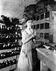 Woman working in a shoe factory, Lynn, Massachusetts, 1895. Photographer Frances Benjamin Johnston. Library of Congress
