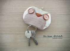 Owl Keychain Pouch - owl accessories - key pouch - READY TO SHIP. $18.00, via Etsy.