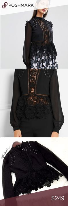 self-portrait • georgette lace blouse NWT Stunning lace blouse by Self-Portrait. NEW with Intermix tag still attached! Size US4 (UK8) This is from the Fall 2016 Collection. Self-Portrait Tops Blouses
