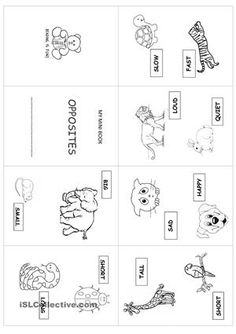 8-page mini book with simple opposites using animals - ESL worksheets