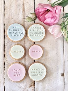 Thank you iced biscuits Fondant Cookies, Iced Cookies, Biscuit Cookies, Sugar Cookies, Thank You Cupcakes, Thank You Cookies, Thank You Cake, Personalised Biscuits, Personalized Cookies