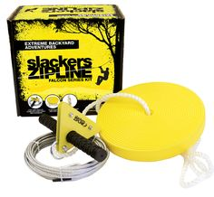 Backyard Zipline Kit – Slackers Zipline Falcon Series Kit with Seat. This is an affordable starter zipline kit to get the kids exercising and having fun in no time at all. Great backyard toy and makes a great gift. Backyard Toys, Backyard For Kids, Backyard Zipline, Backyard Patio, Backyard Playground, Zip Line Kits, Zip Line Backyard, Exercise For Kids, Outdoor Play