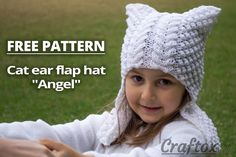 """Cat ear flap hat """"Angel"""" free knitting pattern. The lovely and funny cat-hat with the covered ears (earflap) for a girl. Such a stylish and special hat will surely become one of the favorite headwear's of a little fashionable girl."""