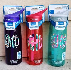 Love these monogrammed water bottles and decals