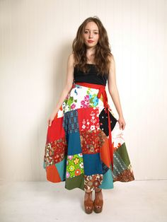 reversible patchwork wrap skirt