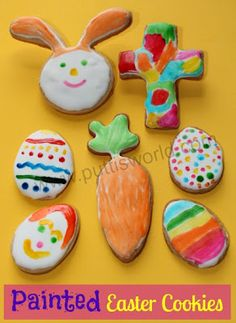 Painted Easter cookies from the weekly kids co-op