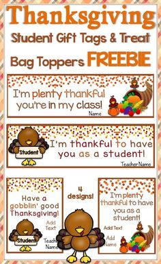 Use this free set of cute and colorful Thanksgiving student gift tags and treat bag toppers to easily create memorable and fun Thanksgiving gifts for your students. https://www.teacherspayteachers.com/Product/Thanksgiving-Student-Gift-Tags-Treat-Bag-Toppers-Free-2868561