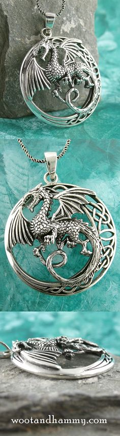 Mythical Flying Dragon Pendant With Celtic Moon Celtic Rings, Celtic Knot, Animated Dragon, Year Of The Dragon, Medieval World, Dragon Necklace, Blue Maxi, Dragon Pendant, Curling