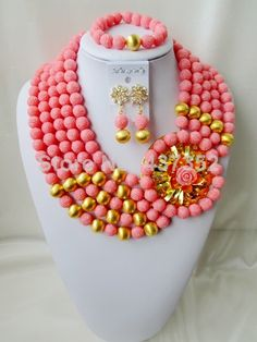 Amazing Nigerian Bead Necklaces Wedding Artificial Beads Jewelry Set African Coral Beads Jewelry Set CWS1101 $98.71