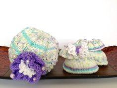 Hand knitted set for newborn girl  hat and by TinyLoveGifts, $29.00
