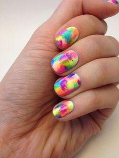 Bright rainbow nails
