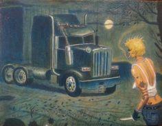 """Long trip"", oil, acrylic, chalk, ink, pencil on wood, 11 by 81/2"", 2013, www.paul-torres.com"